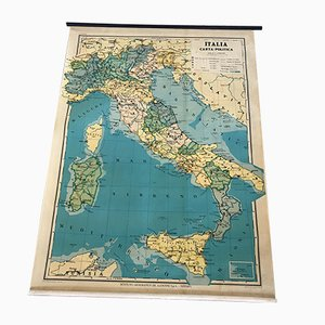 Vintage Political Map of Italy from De Agostini, 1982