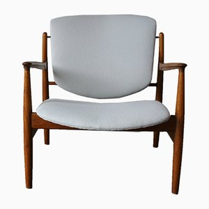 Vintage Model FD 136 Solid Teak Armchair by Finn Juhl for France & Daverkosen