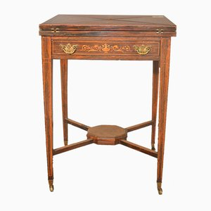 Victorian Handkerchief Table with Rosewood Inlay, 1860s
