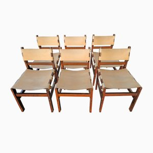 Leather & Wood Chairs, 1960s, Set of 6