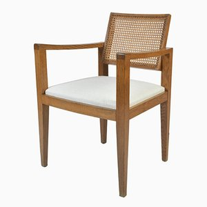 French Oak and Cane Armchair by Emile Seigneur, 1950s