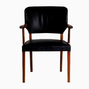 Sedia in mogano e pelle nera, anni '60