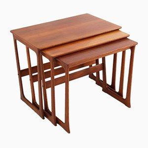 Tavolini ad incastro moderni in teak di Johannes Andersen, anni '60