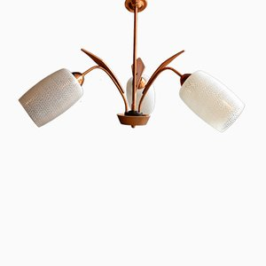 Midcentury Teak, Glass and Copper Chandelier