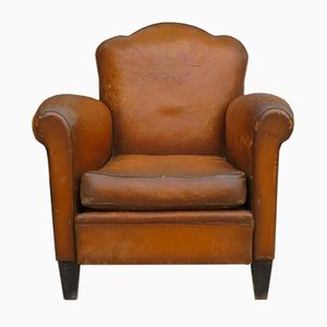 Superbe French Leather Club Chair, 1930s
