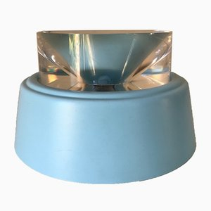 Lámpara francesa de plexiglás y plástico azul, años 70