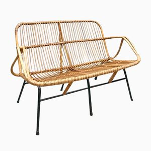 Dutch Rattan Sofa Bench from Rohé Noordwolde, 1960s