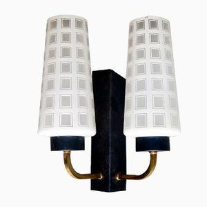 Wandlampe aus Opalglas & Metall, 1960er
