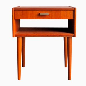 Mid-Century Bedside Table with Drawer & Shelf