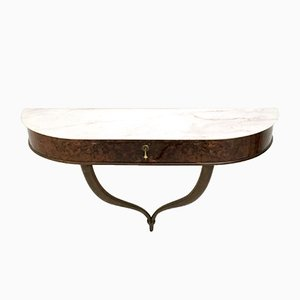 Wall Mounted Console Table with Carrara Marble Top, 1950s