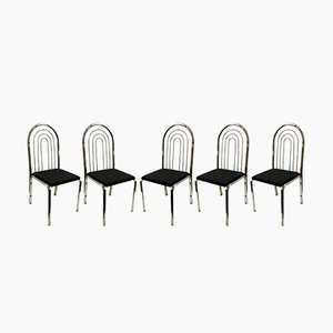 Chrome Plated Dining Chairs, 1970s, Set of 5