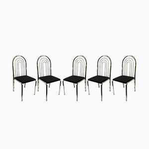 Verchromte Esszimmerstühle, 1970er, 5er Set