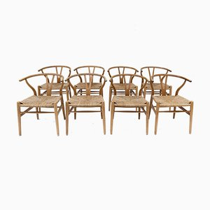 Mid-Century CH24 Wishbone Chairs by Hans J. Wegner, Set of 8