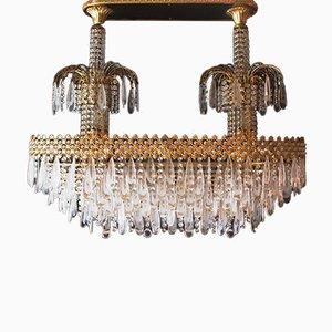 Lámpara de araña vintage de cristal de Murano y cristal Swarovski, años 80