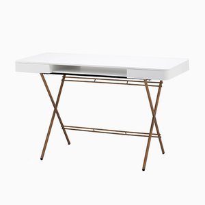 Cosimo Desk with White Mat Lacquered Top & Golden Frame by Marco Zanuso Jr. for Adentro, 2017
