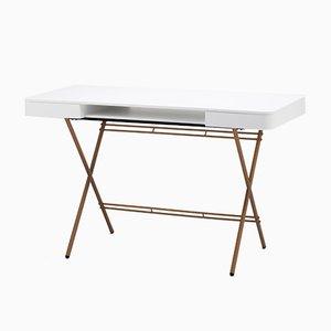 Cosimo Schreibtisch mit mattweiß lackierter Platte & goldenem Gestell von Marco Zanuso Jr. für Adentro, 2017