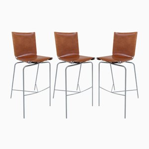 Vintage Barstools with Highbacks by Fabiaan Van Severen, Set of 3