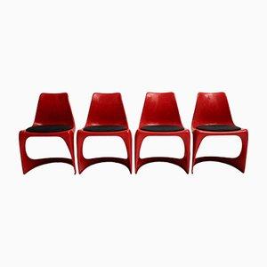 Sillas vintage de plástico en rojo de Steen Ostergaard para Cado, 1971. Juego de 4