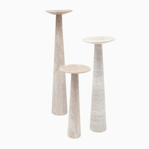 Vintage Travertine Pedestals, Set of 3