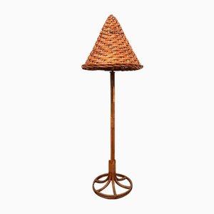 Lámpara de pie vintage de mimbre y ratán, años 60