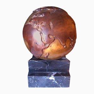 Globo terráqueo vintage de bronce y mármol, años 80