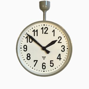 Large Industrial Double-Sided Factory Clock from Pragotron