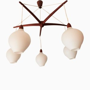 Mid-Century Swedish Octopus-Shaped Teak & Opaline Glass Chandelier