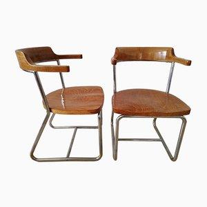Type K 16 Bauhaus Vintage Stahlrohrstühle von Robert Slezak für Slezak, 2er Set