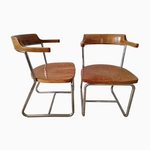 Vintage Type K 16 Bauhaus Tubular Steel Chairs by Robert Slezak for Slezak, Set of 2
