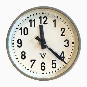 Horloge Murale d'Usine Grise Industrielle de Pragotron, 1950s