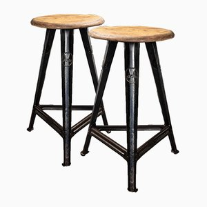 Vintage Industrial Stools by Robert Wagner for Rowac, Set of 2