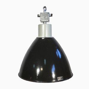 Fabriklampe in schwarzer Emaille, 1960er