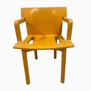 Yellow K4870 Chairs by Anna Castelli Ferrieri for Kartell, 1980s, Set of 4