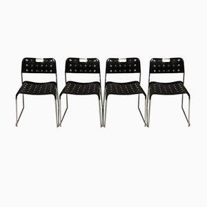 Chaises Omstak Noires par Rodney Kinsman pour Bieffeplast, 1970s, Set de 4