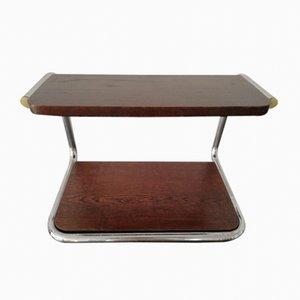 Vintage Bauhaus Czechoslovakian Tubular Steel & Wood Shelf