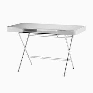 Cosimo Schreibtisch mit grauer glänzend-lackierter Tischplatte und Rahmen aus Chrom von Marco Zanuso Jr. für Adentro