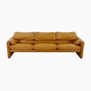 Vintage Maralunga Leather Sofa by Vico Magistretti for Cassina