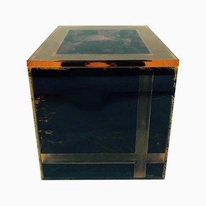 Vintage Italian Square Plexiglas Ice Bucket, 1970s