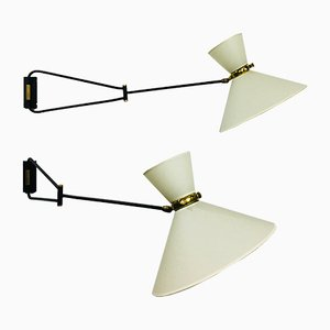 Diabolo Wall Lamps by René Mathieu for Lunel, 1950s, Set of 2