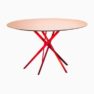 IKI Table with Red Lacquered Base & Oak Veneer Top by Marco Zanuso Jr. for Adentro