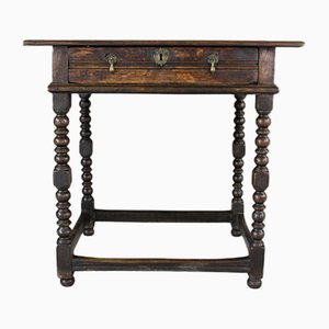Antique Rustic Oak Side Table