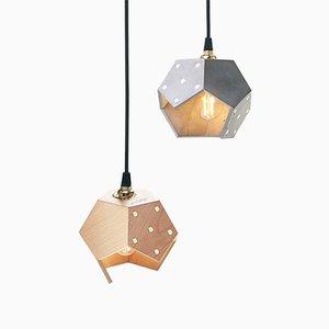 Lampada a sospensione Basic TWELVE Duo in cemento e legno di Plato Design