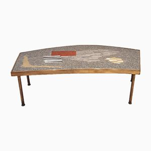 Brass & Mosaic Coffee Table by Berthold Muller, 1950s