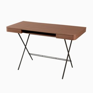 Cosimo Desk with Walnut Veneer Top & Dark Brown Frame by Marco Zanuso Jr. for Adentro, 2017