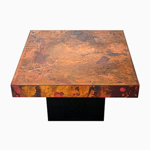 Acid-etched & Oxidized Copper Coffee Table by Bernhard Rohne, 1960s