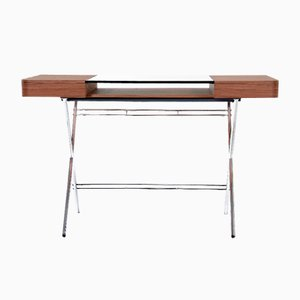 Cosimo Desk with Walnut Veneer & Glass Top by Marco Zanuso Jr. for Adentro, 2017
