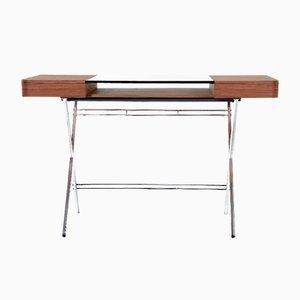 Cosimo Desk with Walnut Veneer & Glass Top by Marco Zanuso Jr. for Adentro, 2017
