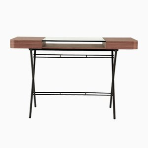 Cosimo Desk with Walnut Veneer, Glass Top & Dark Brown Frame by Marco Zanuso Jr. for Adentro, 2017