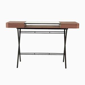 Cosimo Schreibtisch mit Nussholzfurnier, Glasplatte & dunkelbraunem Rahmen von Marco Zanuso Jr. für Adentro, 2017