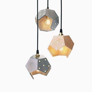 Lámpara colgante Basic TWELVE Trio de hormigón y madera de Plato Design